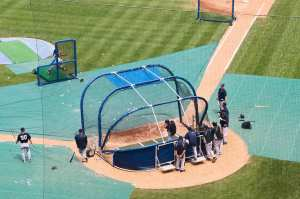 NY Yankees taking batting practice June 18, 2011 Wrigley Field