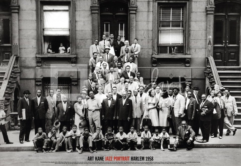 http://www.harlem.org/ click and scan the image for names of the jazz graets in this iconic photograph