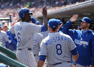 Lorenzo Cain after scoring for the Royals