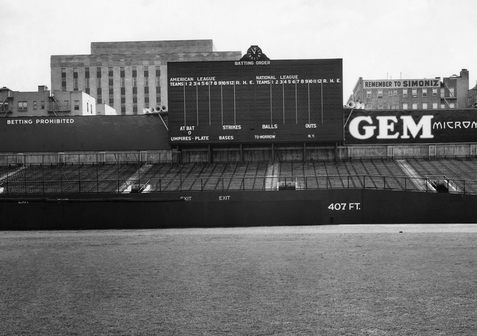 Original Yankee Stadium Scoreboard  October 1937 www.ballparkprints.com